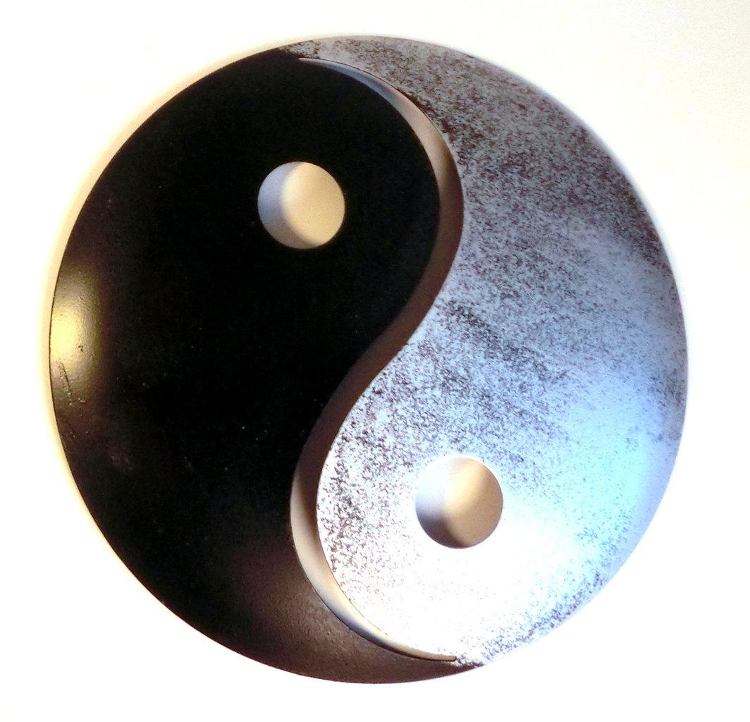 atelier akara wanddekoration yin und yang schwarz silber metall. Black Bedroom Furniture Sets. Home Design Ideas